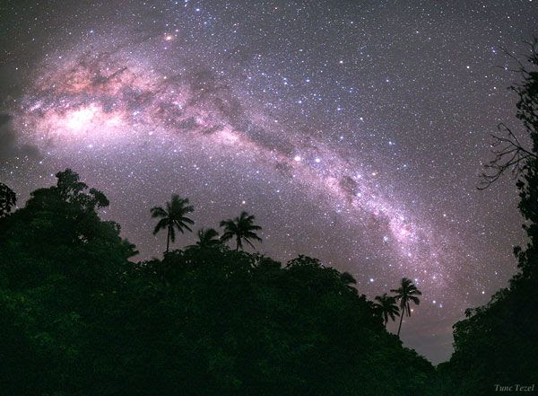 The Milky Way shines above Mangaia, which is located in the southern-most part of the Cook Islands.