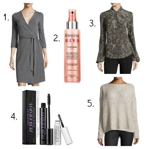Diane von Furstenberg wrap dress - Kerastase spray - Lafayette 148 blouse - Urban Decay mascara - Vince sweater