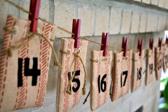 Advent Calendar, Ticking Stripe Drawstring Bags