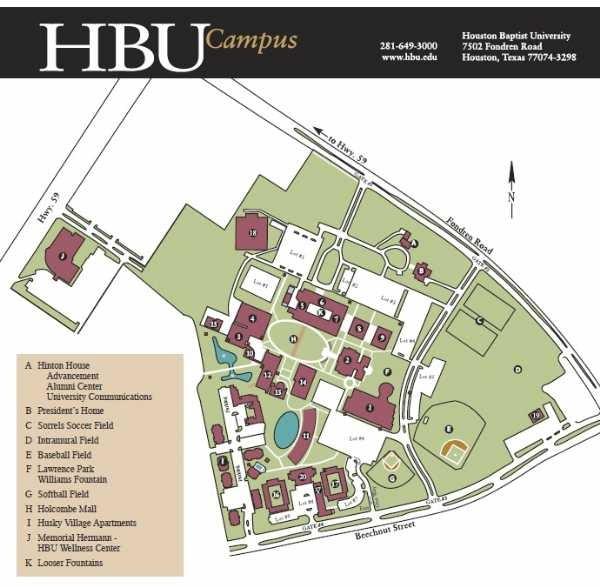 Hbu Campus Map Houston Baptist University Campus Map | Map Of Us Western States