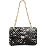 Steve Madden Bonds Splatter Paint Medium Flapover Crossbody Made of Faux Leather, Black (New without Tags)