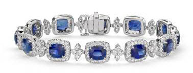Cushion Blue Sapphire and Halo Diamond Bracelet in 18k White Gold (6.5x5.5mm) at Blue Nile