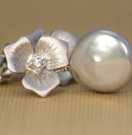 Silver Coin Pearl and Silver Floral Post Earrings Perfect For The Bride