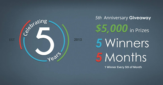 Debt.com's 5th Anniversary Giveaway #Debt5 - 5 Winners, $5,000 in Prizes