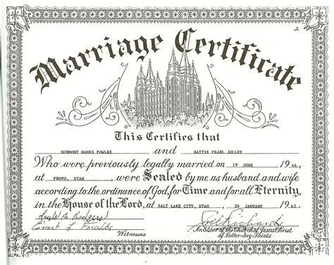 wedding certificates free   DH and Pearl Fowlke Temple