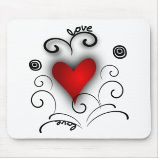 Love Heart Swirl - Red And Black With Effects mousepad