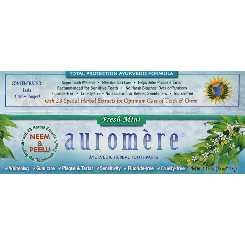Auromere Ayurvedic Herbal Toothpaste, Fresh Mint - 4.16 oz tube