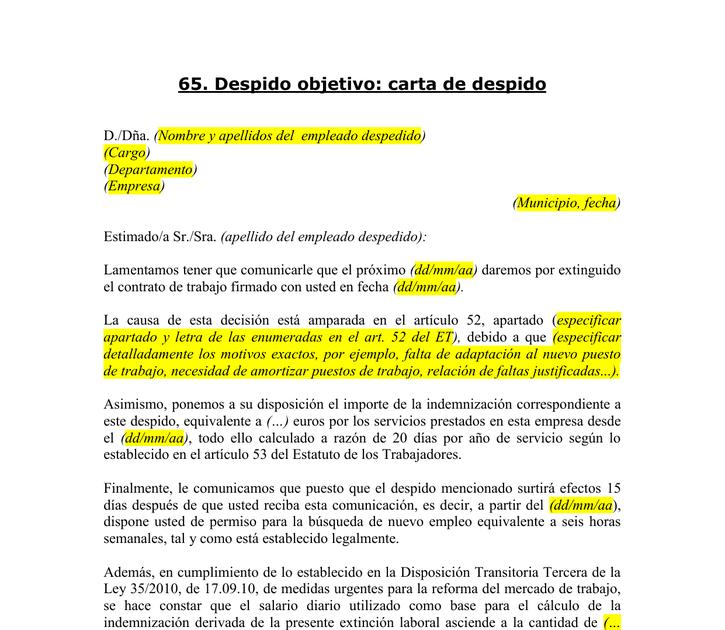 Carta De Preaviso De Despido Word Quotes Best A