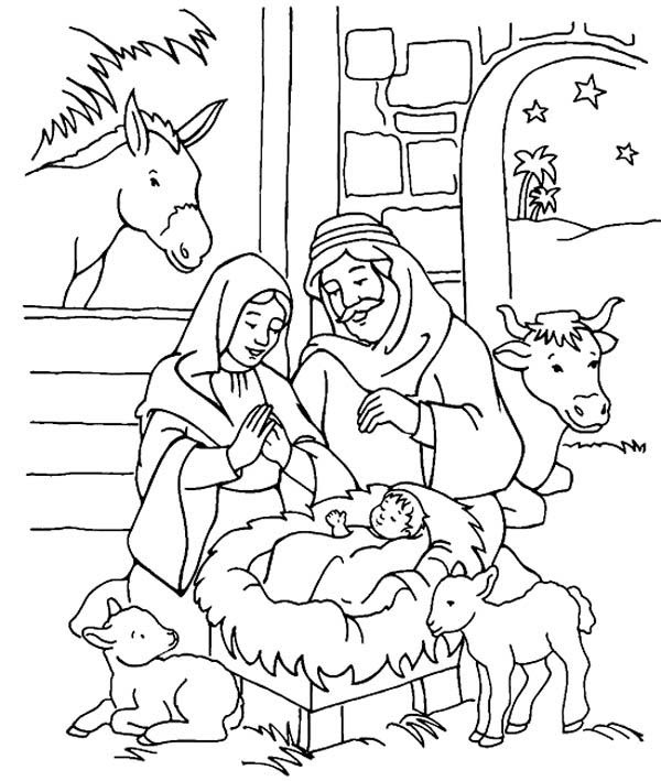Nativity Christmas Coloring Pages For Kids Drawing With Crayons