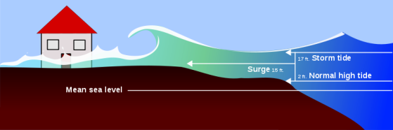 Graphic representation of a storm surge.  Image: chathamemergency.org