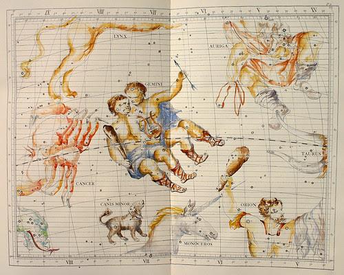 001-Geminis y el Auriga-Atlas Coelestis-coloreado a mano edicon de 1753 Londres-John Flamsteed