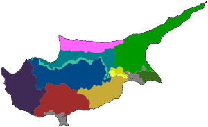English: Map of Cyprus showing districts