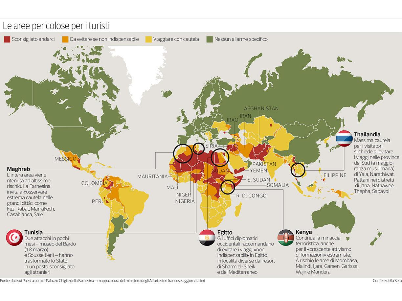 La nuova mappa dei Paesi a rischio