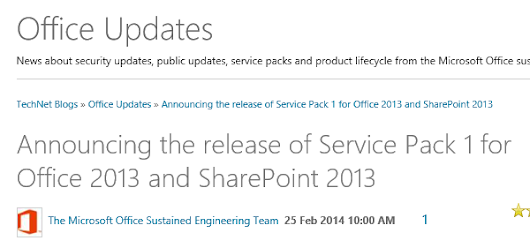 SharePoint 2013 SP1 has been released!