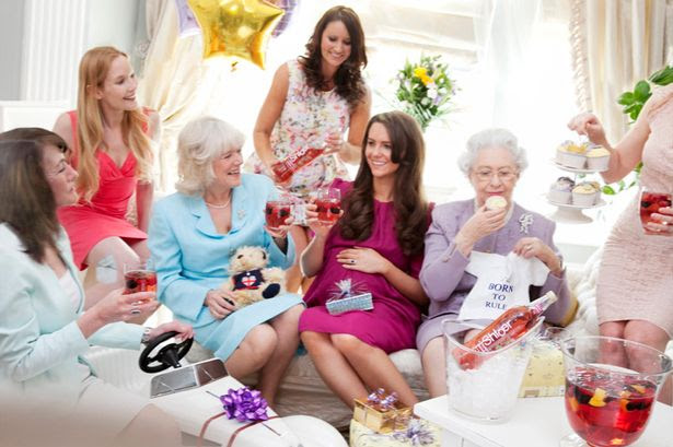 Kate sparkles at her very own baby shower…whilst the Queen tucks into a tasty cupcake