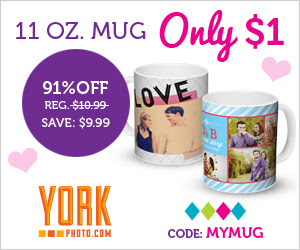 $1 Custom 11 OZ Photo Mug – Save $9.99!