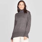 Women's Dolman Sleeve Turtleneck Tunic Sweater - A New Day Gray
