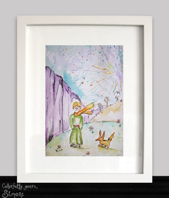 Original Watercolor Painting. The little prince. Le petit prince. The prince and the fox scene. Ready to ship! - ColorfulSimone