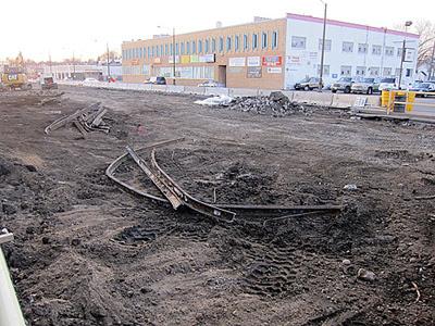 Old streetcar tracks dug up on University Avenue