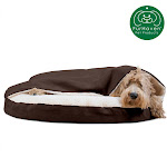 """FurHaven Pet Dog Bed   Orthopedic Round Faux Sheepskin Snuggery Burrow Pet Bed For Dogs & Cats (Espresso, 35"""" Base)"""