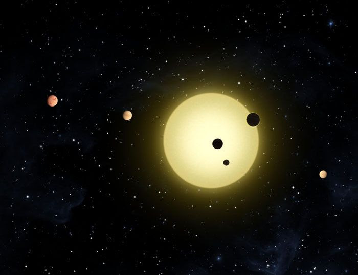 An artist's concept of the six exoplanets orbiting the sun-like star Kepler-11.