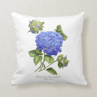 "Hydrangea ""Blue Wave"" Throw Pillow"