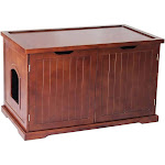 Merry Products Decorative Bench with Enclosed Cat Litter Washroom Box, Walnut by VM Express