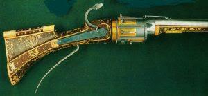 Carabina matchlock com sistema giratório, datado de 1540 - 1550.