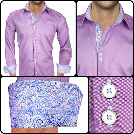 Mens Designer Dress Shirt : Purple and Blue Paisley