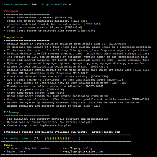Lynis - Security auditing and hardening tool for Linux/Unix