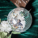 """24"""" wide Large Silver Glass Hanging Party Disco Mirror Ball"""