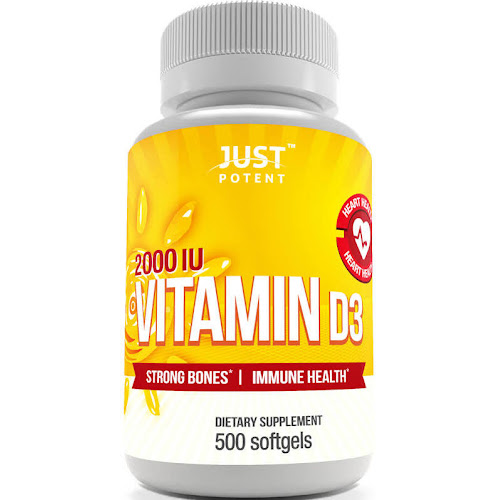 Vitamin D3 Supplement by Just Potent | 500 Softgels | 2000 IU | Strong Bones & Immune Health | Full Benefits of The Sun in A Tiny Softgel | 500 Days of Uninterrupted Supply | Gluten Free