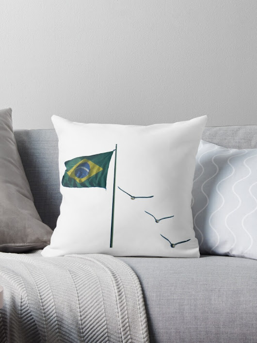 'Winds of Brazil - white' Throw Pillow by delcueto