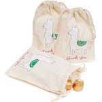 20-Pack Llama Canvas Party Favor Bags For Treats And Goodies, 5.5 X 4 Inches