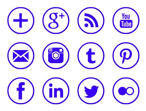 Free purple rimmed circle social media icons