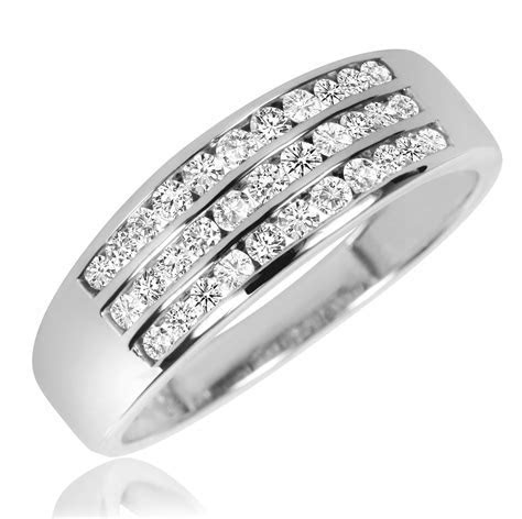 1 1/2 CT. T.W. Diamond Trio Matching Wedding Ring Set 10K