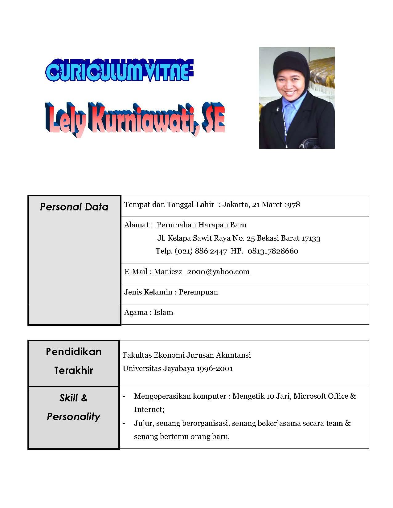 Contoh Curriculum Vitae Farmasi - Simak Gambar Berikut