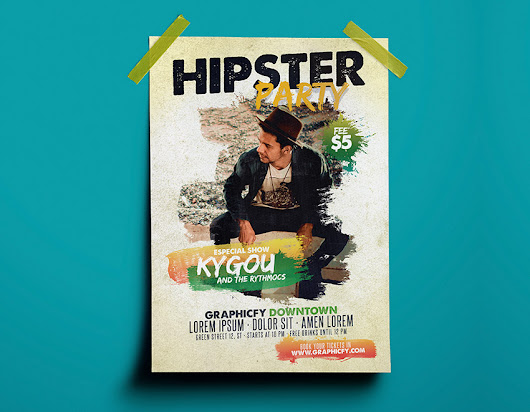 Hipster Party Flyer Template PSD - Graphicfy