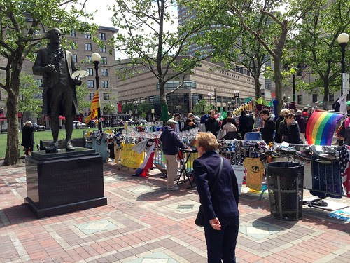 Boston Marathon attack memorial, next to Copley Statue