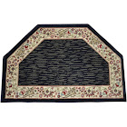 Dean Talas Floral Black Hearth Rug/Landing Mat (Set of 2) 27 inch x 39 inch (2x3)