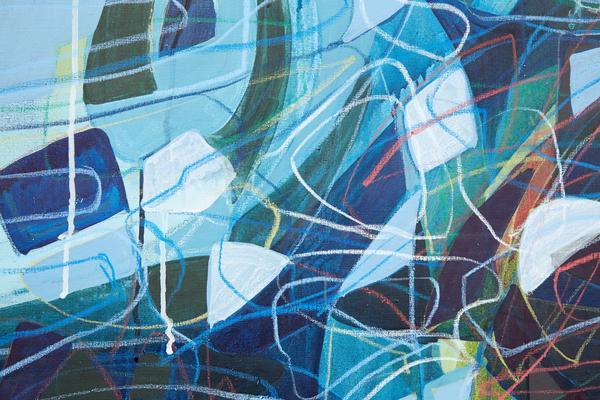 Black River  (detail), 2013. Mixed media on canvas. 80 x 95 inches (203.2 x 241.3 cm). (c) John Muggenborg.