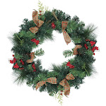 """Northlight 24"""" Green Foliage Pinecones and Berries Wreath with Tartan Ribbon"""