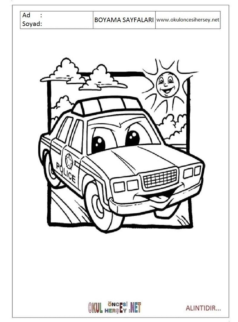 Polis Arabası Boyama Sayfaları