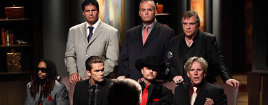 Pictured: (L - R) Lil John, Jose Canseco, Mark McGrath, Richard Hatch, John Rich, Meat Loaf, Gary Busey (Douglas Gorenstein/NBC)