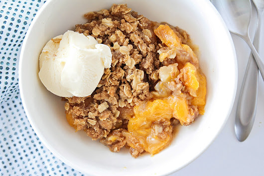 Homemade Peach Crisp - One Little Project