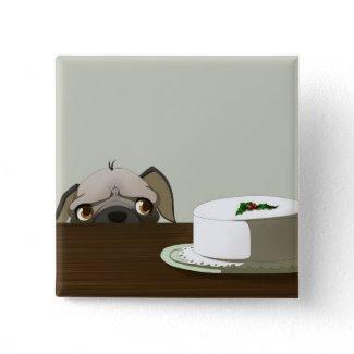 Pug with Christmas cake button
