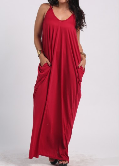 pocket design wine red maxi dress  rotita  usd 2322