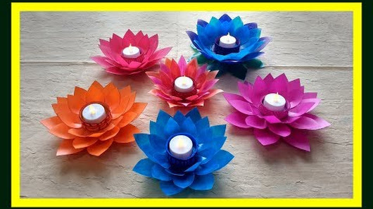 Diy Art And Craft Tutorial Howto Make Lotus Flower Candle Holder From Waste Milk Bottle