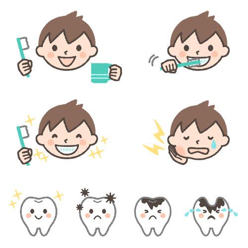 歯磨き虫歯のイラストセット男の子ver 可愛い無料イラスト