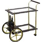 Uniquewise 2-Tier Clear Tempered Glass Brass/Wood Serving Tea Cart